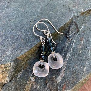 """Jewelry - Glowing """"milky"""" quartz & teal Kyanite Earrings"""